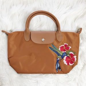 Longchamp Le Pliage Flower & Bird Embroidered Tote